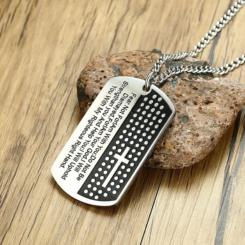 51MM stainless steel Christian scripture steel color men 39 s pendant in Wall Crosses from Home amp Garden