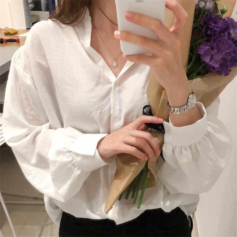 ボタンレースシャツ春ファムトップス女性長袖リネン綿女の子ブラウスプラスサイズの女性ブラウスファム