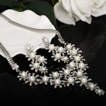 2016 Bohemian Elegant Flower Earrings Statement Necklaces Silverd Plated Imitation Pearl Wedding Bridal Decoration Jewelry(China)
