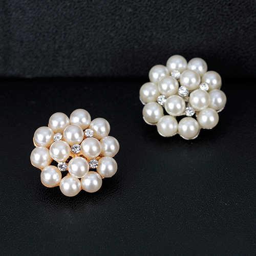 Bunga Berlian Imitasi Imitasi Mutiara Bros Pin DIY Pengantin Pernikahan Bouquet Dekorasi Menyilaukan Rhinestone Bros Mewah Perhiasan
