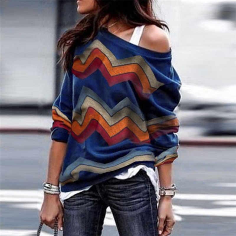 ZDFURS * ブラウス女性カジュアル長袖レディースブラウスヴィンテージプリントシャツセクシーなオフショルダートップストリート Blusas Mujer