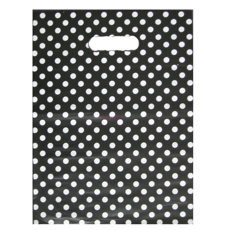 Wholesale 50pcs/lot Round Dots Black Plastic Gift Bag 25x35cm Jewelry Boutique Packaging Bags Plastic Shopping Bags With Handle