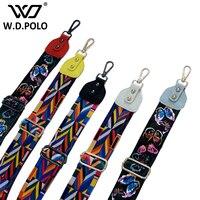 W D POLO 2017 New Cotton Women Bag Handbag Bohemian Guitar Strap Elegant Stripe Fashion Slogan