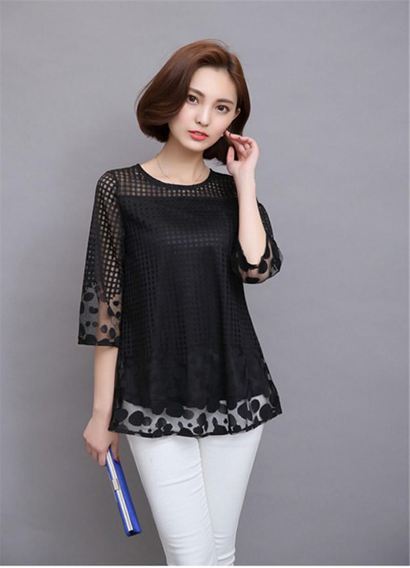 Plus Size 4XL 5XL 6XL  Luxury Lace O Neck  Women Blouse Shirt Noble Long Mesh sleeve Shirt Blouse Vintage tops Blusas Femininas (22)