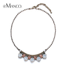 Rhinestone chain necklace collar eManco womens 2016 new summer arrivals opal crystal pendant choker NL13153(China)