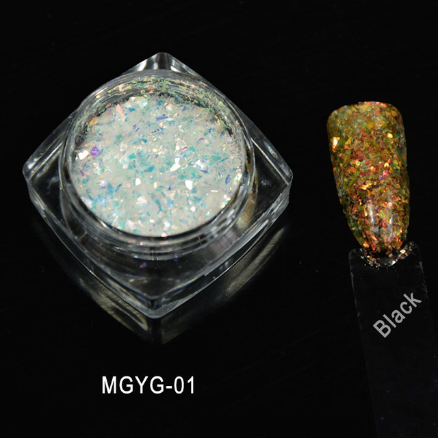 1g/Box 2017 New Arrival Irregular White Color Chameleon Flakes Color Changing Mica Pigment For Nail Paint, 5colors