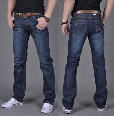 Best Ing Cotton Straight Leg Men S Jeans Waist Slim White Business Casual In