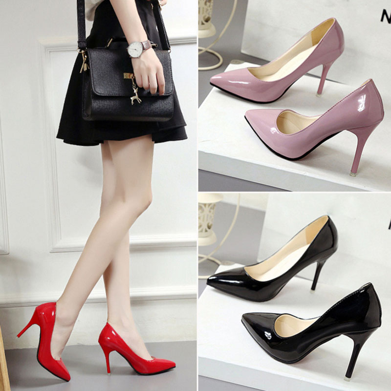 VTOTA New Pointed Toe Leather Women Pumps Fashion Office Shoes Sexy High Heels Thin Heel s Wedding