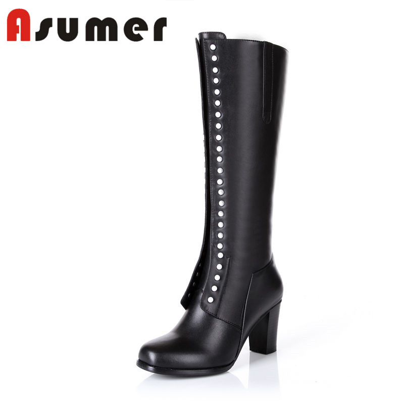 ASUMER 2018 NEW square toe mid calf boots solid button simple winter boots elegant thick heels women pu+genuine leather bootsASUMER 2018 NEW square toe mid calf boots solid button simple winter boots elegant thick heels women pu+genuine leather boots