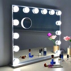 Espejos de maquillaje de estilo Hollywood con luces iluminadas espejo de tocador con bombillas LED regulables Control táctil diseño cosmético