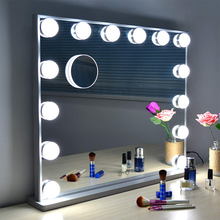 Hollywood Style Makeup Mirrors with Lights Lighted Vanity Mirror with Dimmable LED Bulbs Touch Control Design Cosmetic dimmable hollywood makeup vanity mirror with light large lighted tabletop cosmetic mirror with 9pcs touch control led bulbs