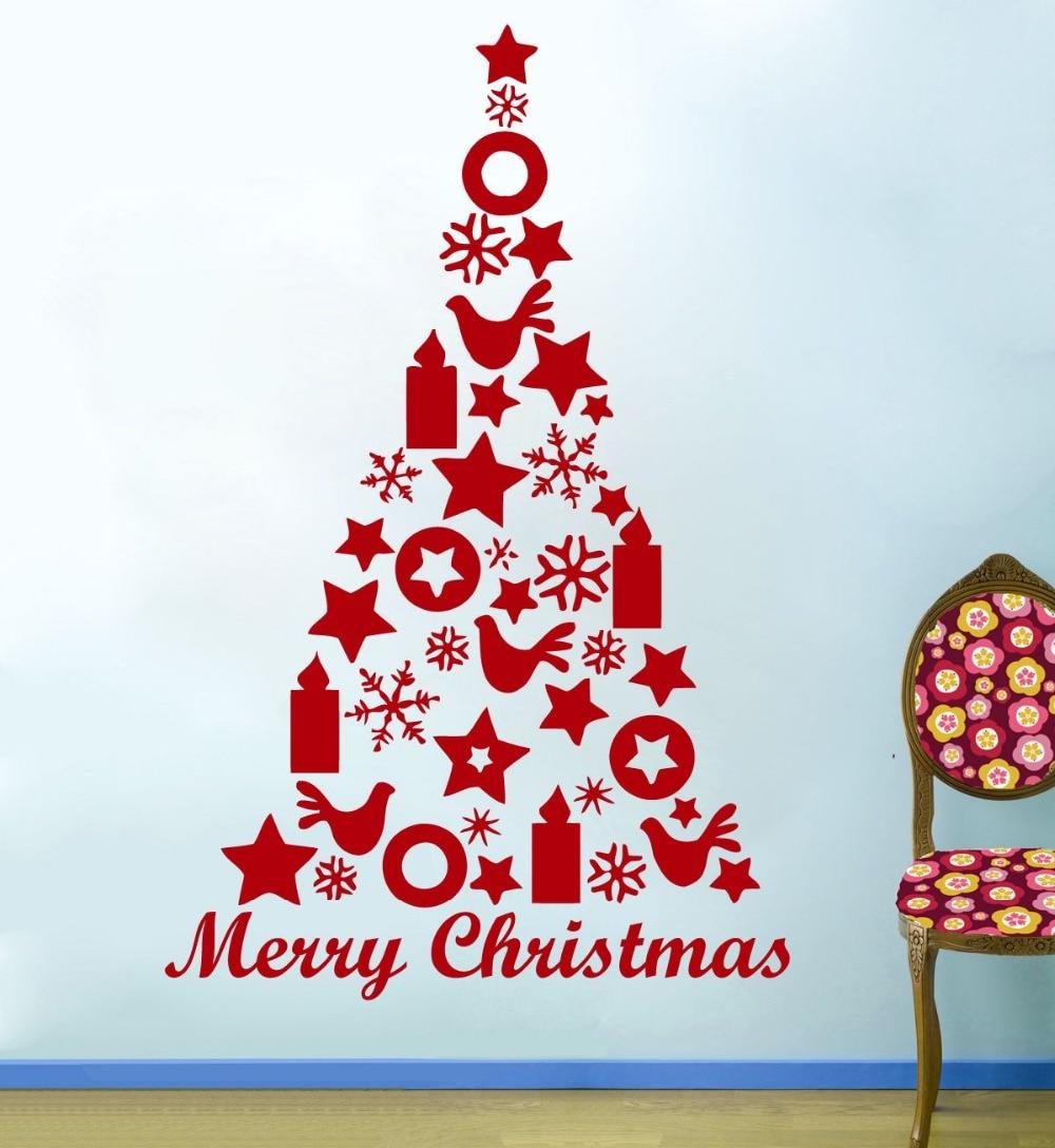 76X56cm Feliz Natal Adesivo De Parede Merry Christmas Tree Star Birds Wall Stickers Shop Window Decor Baby Wall Decals D785