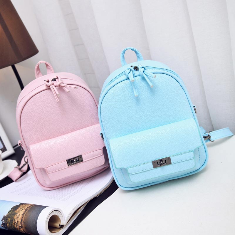 Simple Fashion Women Backpack Leather Solid Color Lichee Pattern Bags Ladies Backpacks for Teenage Girls School Bag Mochila women genuine leather backpack women s backpacks for teenage girls ladies bags with zippers school bag mochila sli 281