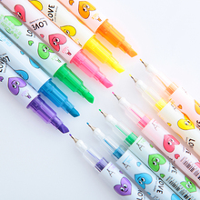 6 pcs/Lot Good luck Twin side writing Color highlighter pen markers Fine liner fluorescent pens Office School supplies FB688