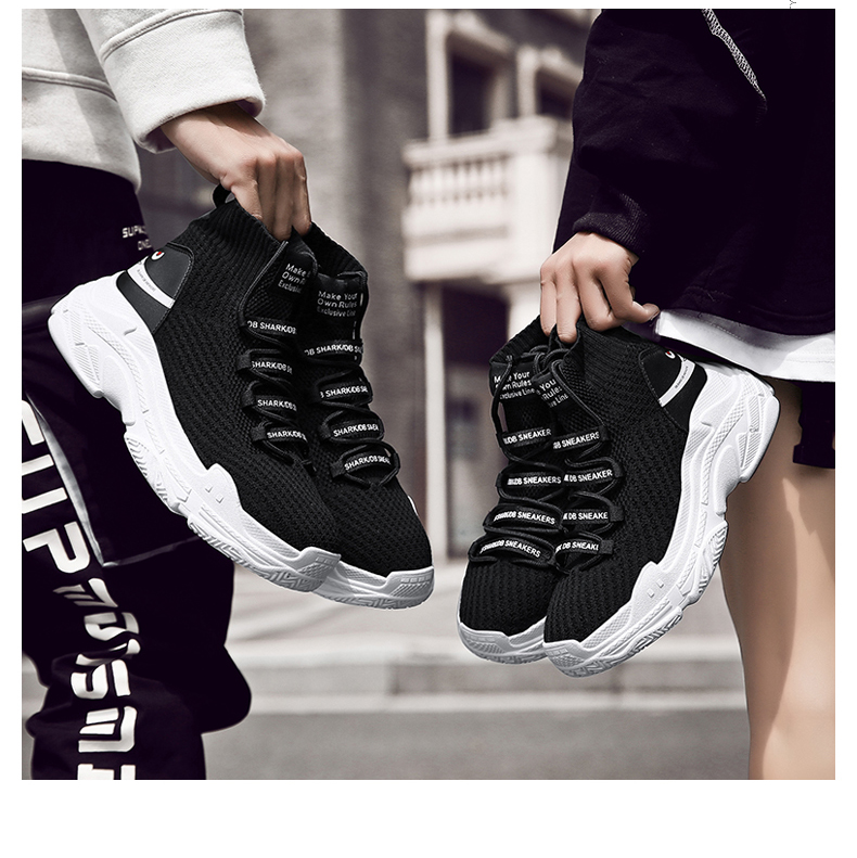 HTB11feMXRr0gK0jSZFnq6zRRXXaB Sneakers Men Shoes For Male Sharks Trainers Lovers High Top Footwear Sapatos Masculino Summer Breathable Chaussures Pour Hommes
