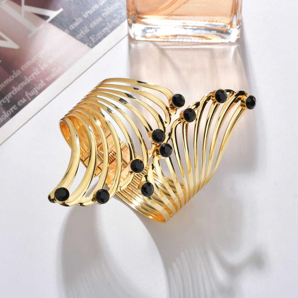 MESTILO Bijoux Çingene Moda Altın Punk Renkli Kristal Manşet Geniş Erkekler Bilezik Kol Bilezik Kadın Takı Bilezik ve Bilezik Için