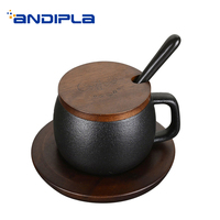 250ML Vintage Black Coarse Pottery Matte Matte Coffee Mug with Spoon Wooden Saucer Kit Office Milk Mug Teacup for Birthday Gifts