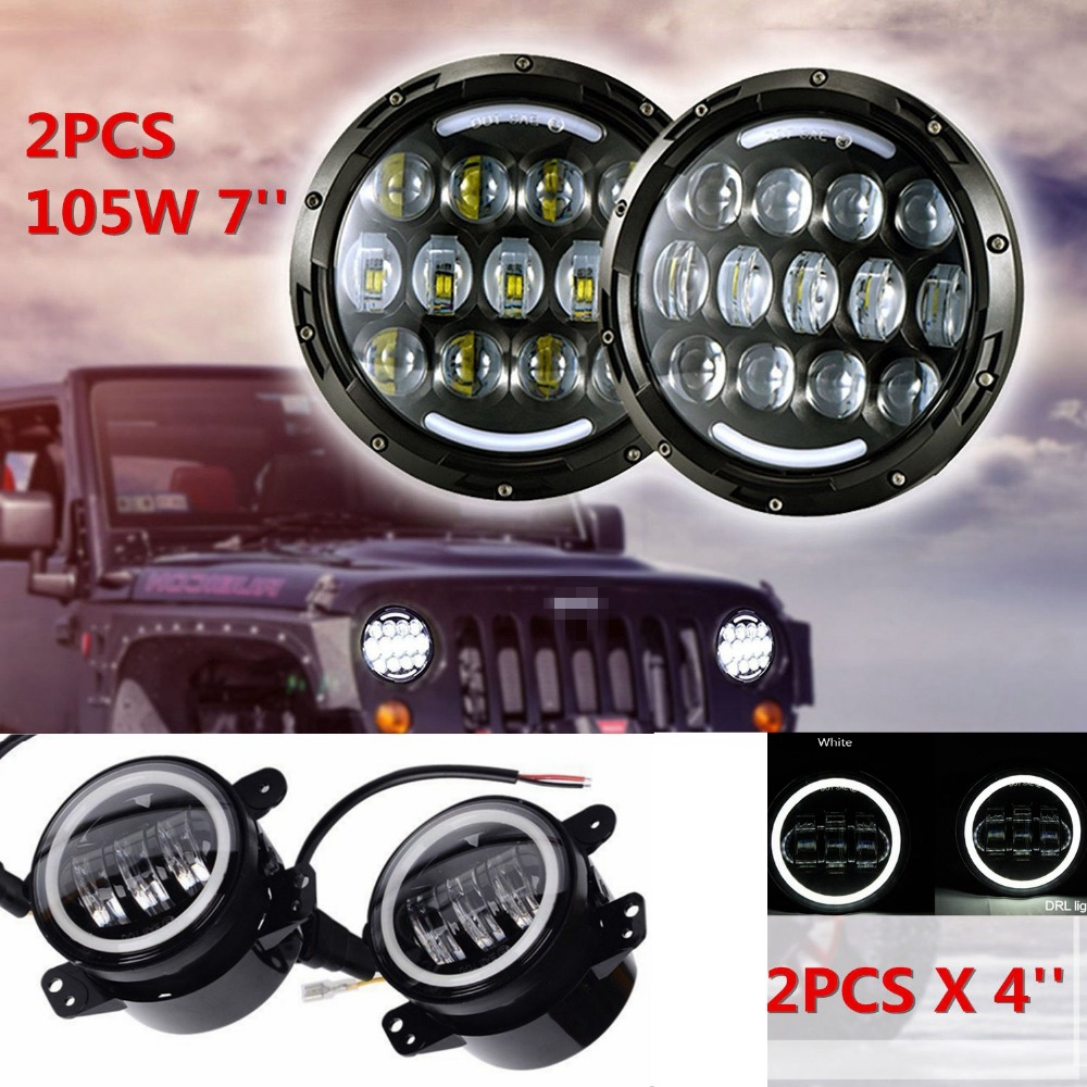 For JEEP Wrangler JK LJ CJ 105W 7inch LED Headlamp Assembly with Hi/Lo Beam White DRL and Amber Turn Signal+2x 4inch Fog Light vosicky 7 inch led headlights for jeep wrangler daymaker with hi lo beam amber drl for tj lj jk cj 5 cj 7 cj 8 scrambler