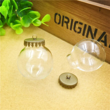 NEW 50sets/lot 30x15mm glass globe with crown base set vial pendant cover Jewelry Accessory