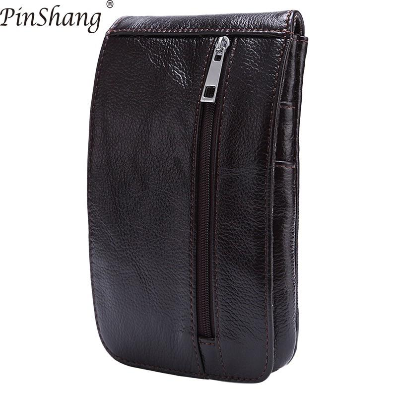 PinShang Man's Waist Bag Waist Wallet Portable Retro Leather Mobile Phone Bag Through The Belt Fanny Pack Belt Bag ZK40