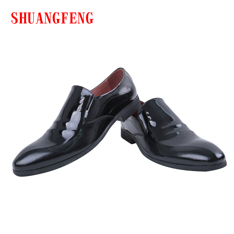 SHUANGFENG 2018 Spring Men Formal Wedding Shoes Luxury Brand Men Business Dress Shoes Mans Footwear Loafer Shoes Plus Size 39-44 shuangfeng red 39 page 3