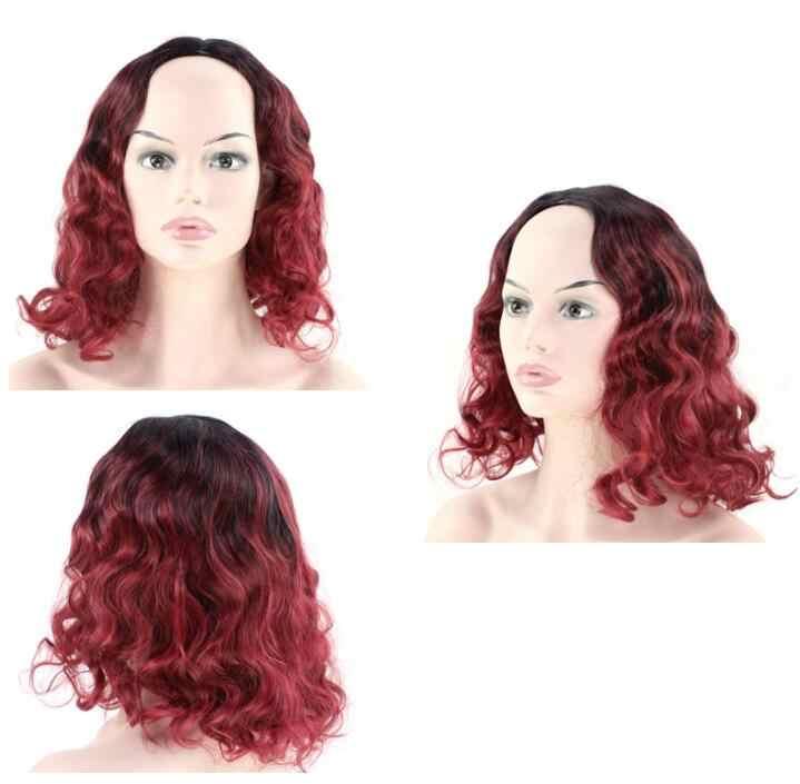 VREUGDE & BEAUTY 30 cm Kort Krullend Haar Pruik Roze Blauw Rode wijn Ombre Zwart Wortel Synthetische Hoge Temperatuur Vezels haar Pruiken