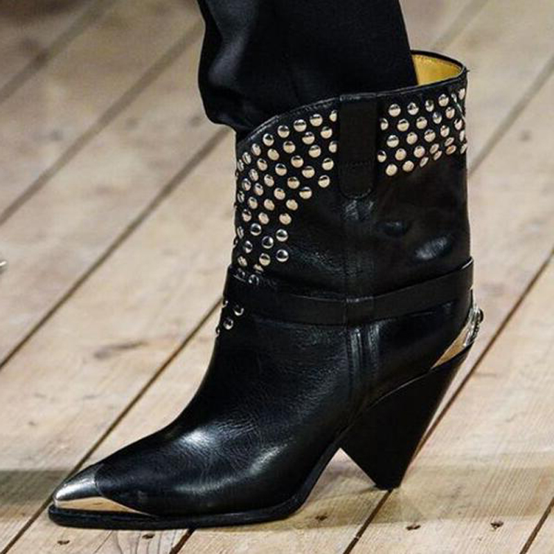 Runway-Brand-Genuine-Leather-Black-Women-Ankle-Boots-Chunky-Spikes-Heels-Sliver-Rivets-Gllitter-Pointed-Toe