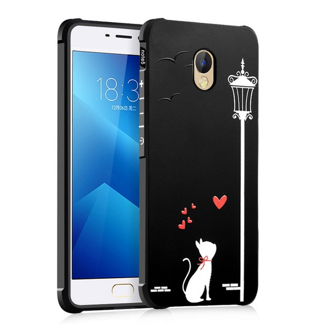 Back Cover For Meizu M5 / For Meizu M5 Note Case Anti-knock Embossed Painted Frosted Silicon Phone Protection Capa Funda