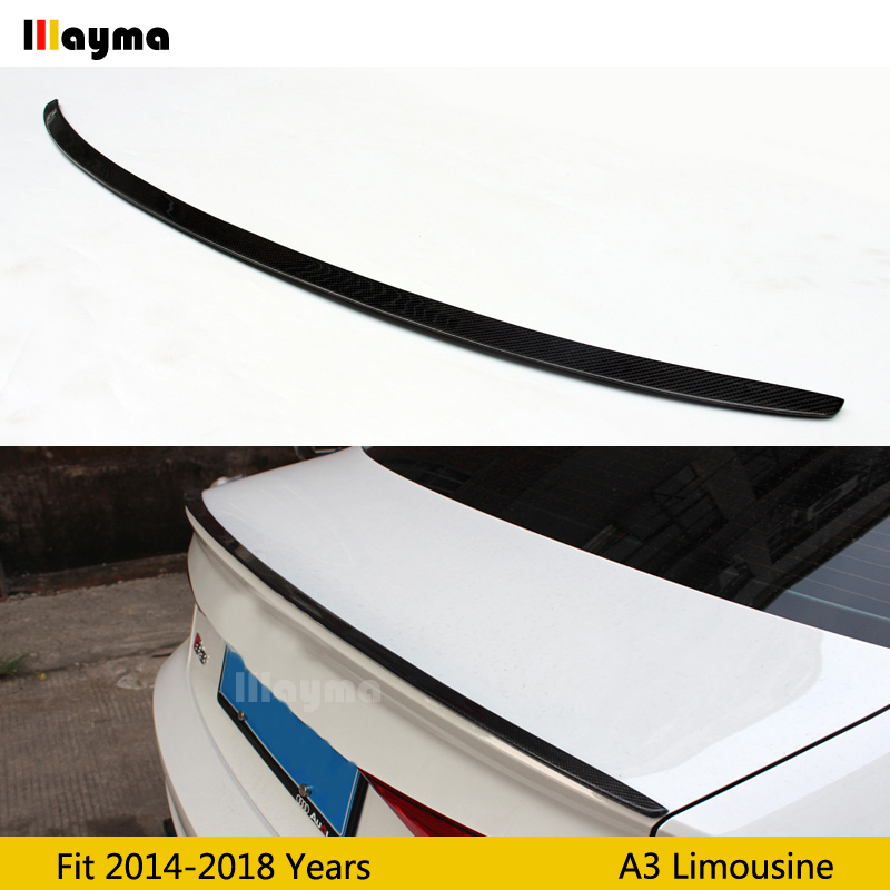 Carbon Fiber rear trunk spoiler For <font><b>Audi</b></font> <font><b>A3</b></font> <font><b>8V</b></font> <font><b>sedan</b></font> 4Door limousine Sline S3 2014-2018 year S3 style Car rear wing spoiler image