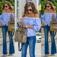 new casual off shoulder striped women summer 2016 blouse shirts Sexy bow office girls blouses Fashion beach long blusas