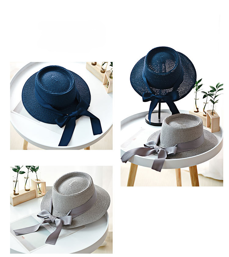 HTB11ff8aIfrK1RkSnb4q6xHRFXaH - Ymsaid New Summer Sun Hats Women Fashion Girl Straw Hat  Ribbon Bow Beach Hat Casual Straw Flat Top Panama Hat Bone Feminino
