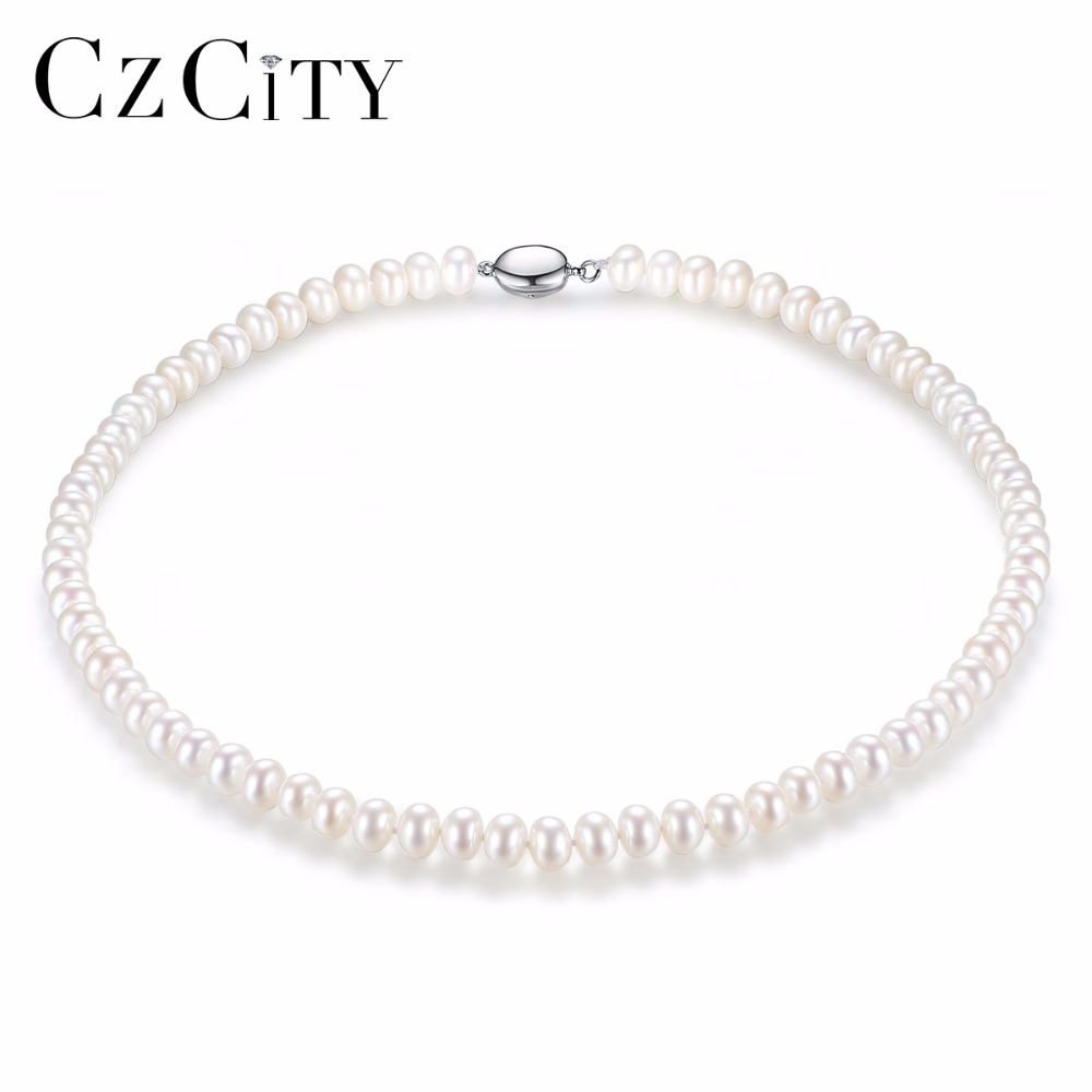 CZCITY 100% 925 Silver Pearl Necklace for Women 7-8mm Flawless Natural Freshwater Pearl Necklace Fine Jewelry Wholesale wholesale good natural 7 8mm aaa pearl necklace jewelry natural white freshwater pearl collares anime 925 silver