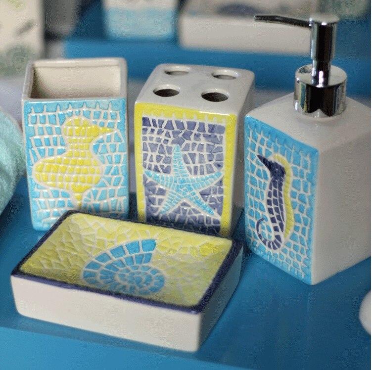 Средиземноморский банные принадлежности набор керамических зубных щеток мыльницей зубная щетка чашка Творческий подарки ванная комната о...