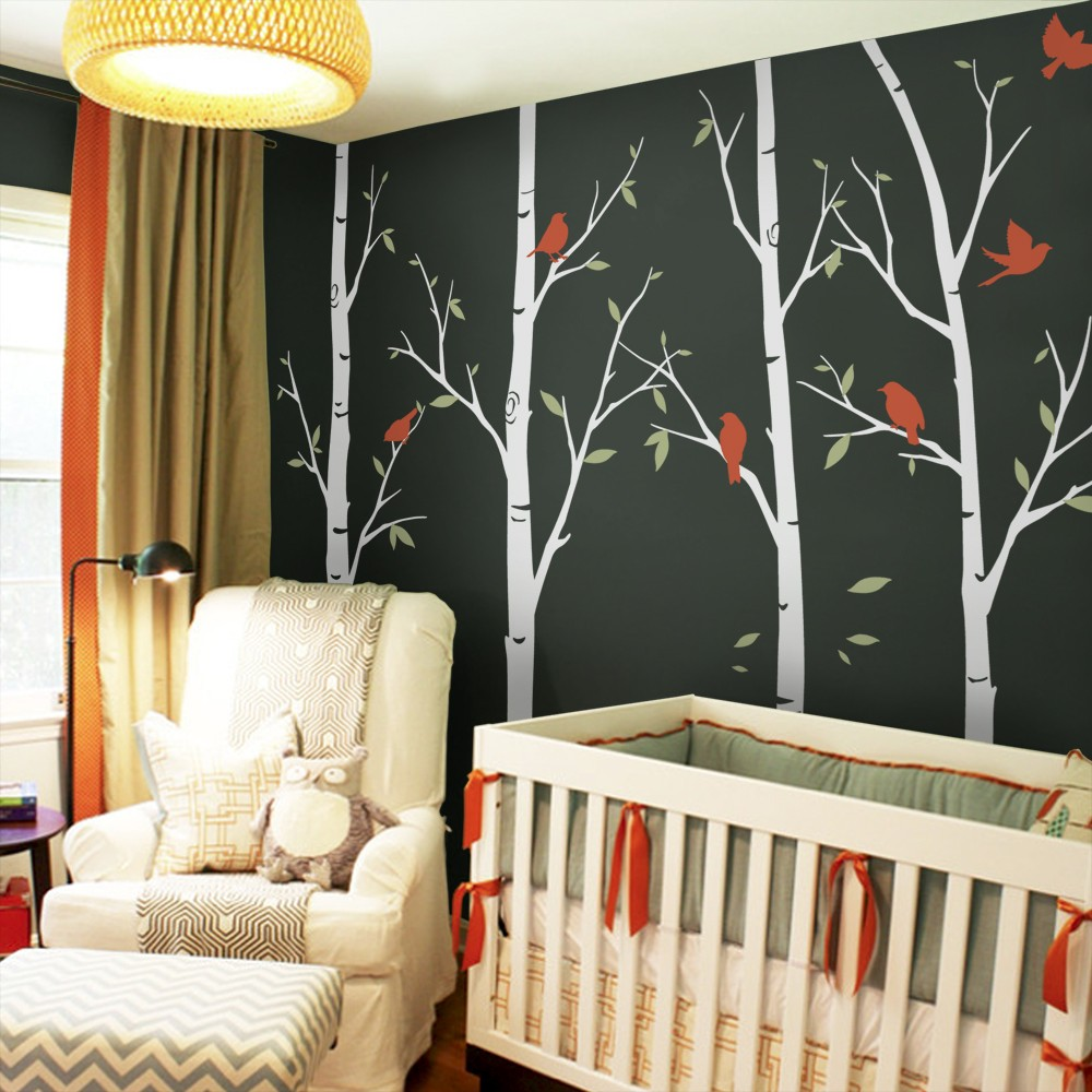 popular birch tree wall decals buy cheap birch tree wall decals 6 birch tree wall decals sticker set large tree with birds wall stickers for kids room