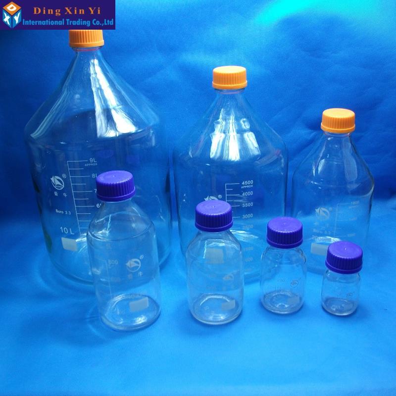 Claro de 5000 ML botella de reactivo de vidrio con tapa de tornillo de pared gruesa botella de reactivo de laboratorio de envío gratis-in Botella de laboratorio from Suministros de oficina y escuela    3