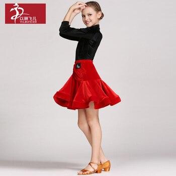 Latin Dance Costume for children Velvet suit  dance skirt
