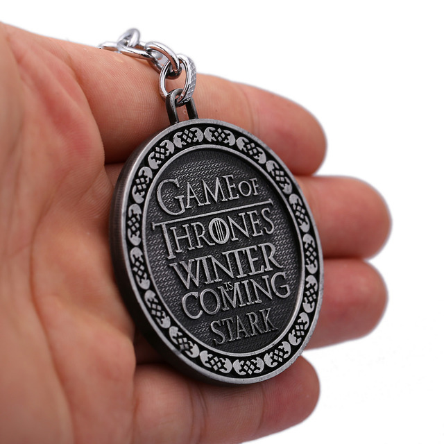 Game of Jewelry Keychain Song of Ice and Fire Stark Key Ring Alloy Pendant Key ring Souvenir Men Jewelry