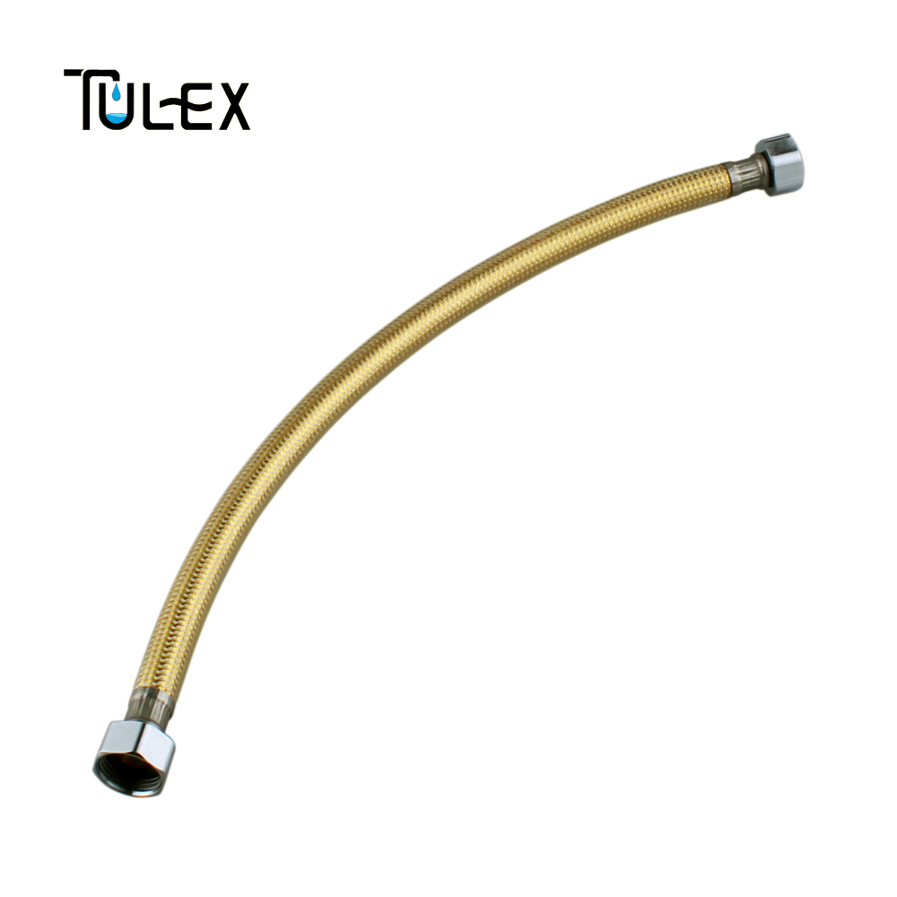 TULEX Golden Faucet Plumbing Hose 400/500/600MM Angle Valve Connector Stainless Steel Gold Toilet Flexible Hose For Bathroom