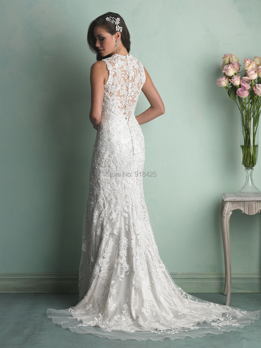 Illusion Neckline Lace Wedding Dresses Mermaid Bride Gowns Sexy See ...