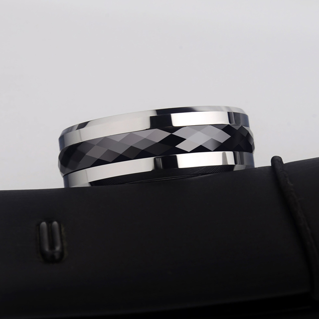 Bague pour hommes, 8mm largeur carbure de tungstène incrusté noir anneau en céramique à facettes multiples pour mariage, livraison gratuite, personnalisé