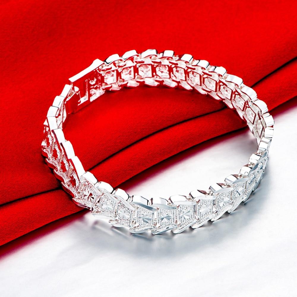 2b4971d8dd29 Pulseras de eslabones de cadena de joyería genuina de plata 925 para mujer  brazalete pulsera de ancho de moda para mujer