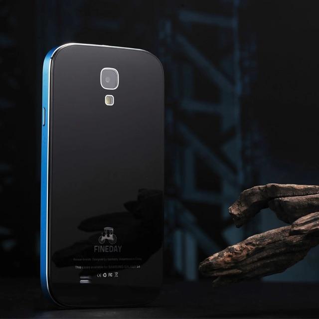 bilder für Original FINEDAY Luxus Gorilla Gehärtetes Glas Back Cover & Premium Metallaluminiumstoßkasten Haut Für Samsung Galaxy S4 i9500