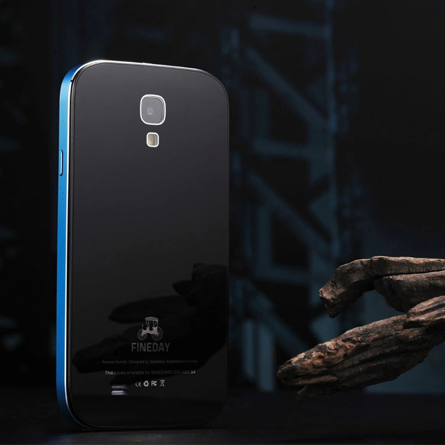 imágenes para Original del Gorila de Vidrio Templado FINEDAY Lujo Contraportada & Premium Metal De Aluminio Caso de Parachoques de La Piel Para Samsung Galaxy S4 i9500