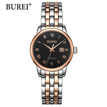 BUREI Brand Automatic Mechanical Watch Business Stainless Steel Waterproof Clock Calendar Womens Watches Top Brand Luxury