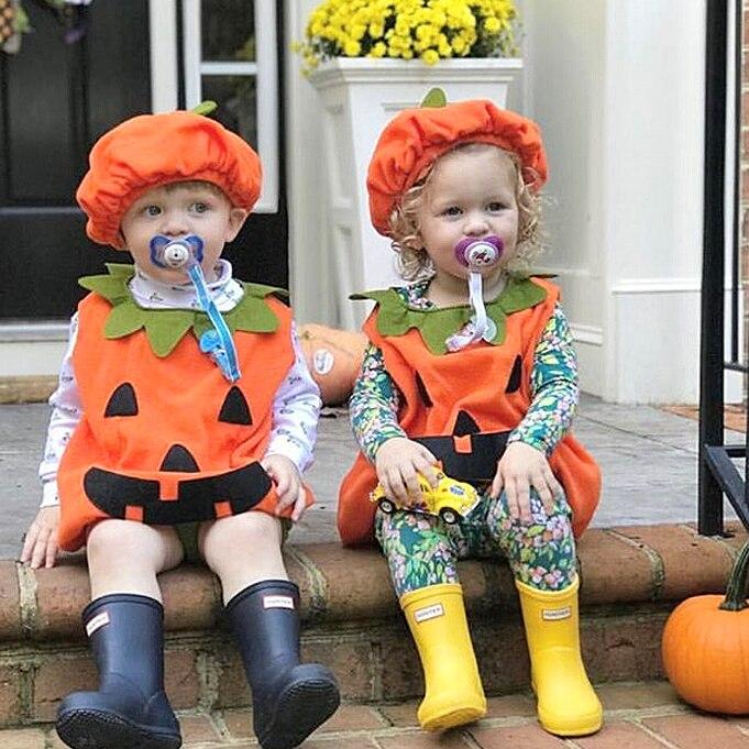 HTB11ffsGf5TBuNjSspcq6znGFXa9 0-3Y Newly Cosplay Halloween Toddler Baby Kid Pumpkin Print Sleeveless Romper Jumpsuits Tops+Hats Baby Clothes 2PCS Costumes