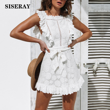 White Hollow Out Embroidery Lace Dress Women Frill Bodycon Dress With Waist Tie 2019 Summer Sundress Crochet Mini Robe Femme недорого