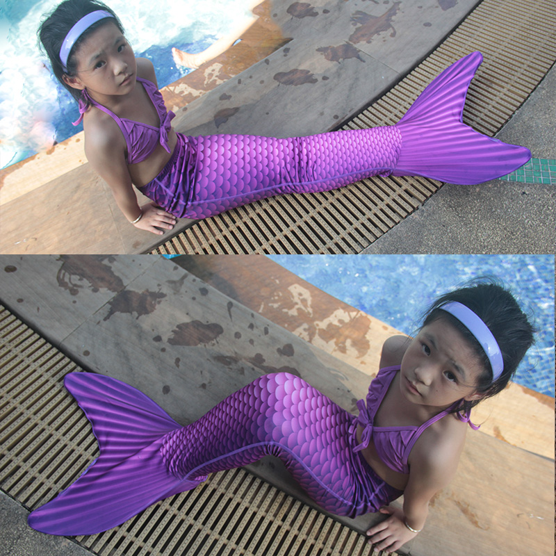 2017 Christmas Gift Fairy girl kids Mermaid Tail Funny with Monofin for Swimming Swimmable mermaid Cosplay Costumes Fun Party