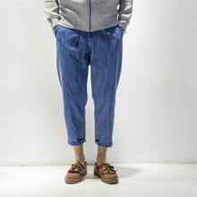 Jeans male ankle length trousers brief street loose casual male jeans the trend