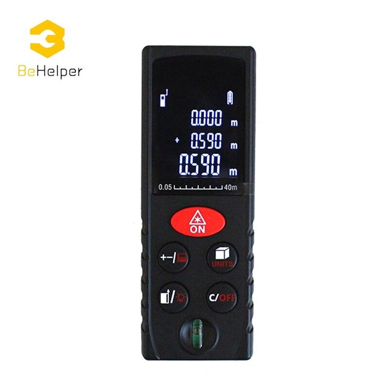 Behelper ЖК-дисплей Дисплей ручной лазерный дальномер, 40 м-100 м дальномер, мини дальномер Площадь Объем Измеритель Инструменты
