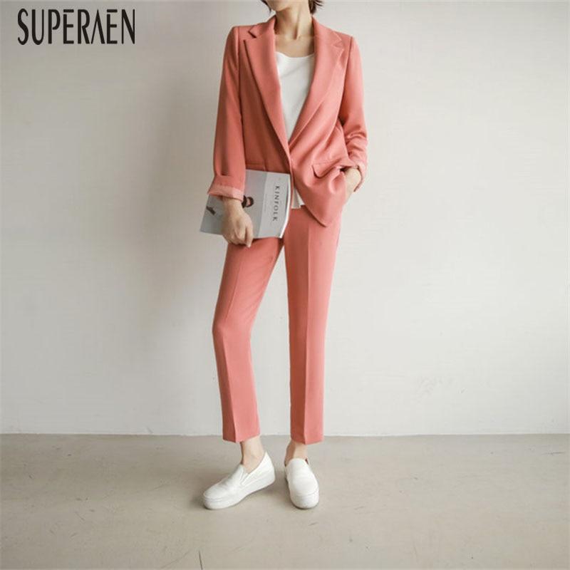 SuperAen Two-piece Autumn 2019 Korean Style Slim Suit Jacket Solid Color Pants